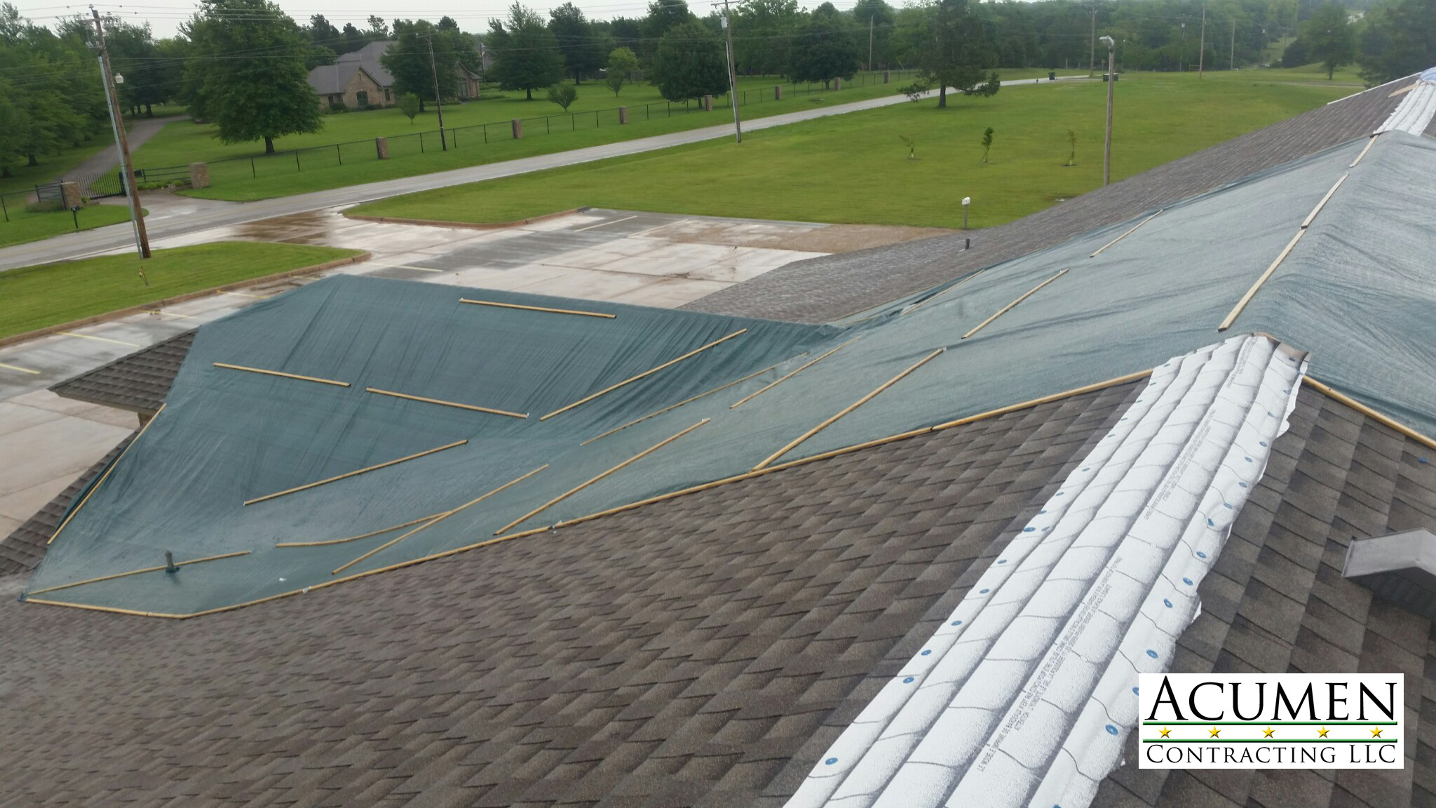 Tarping roofs in Norman Oklahoma