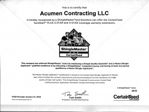 Acumen Contracting Certified roofing contractor